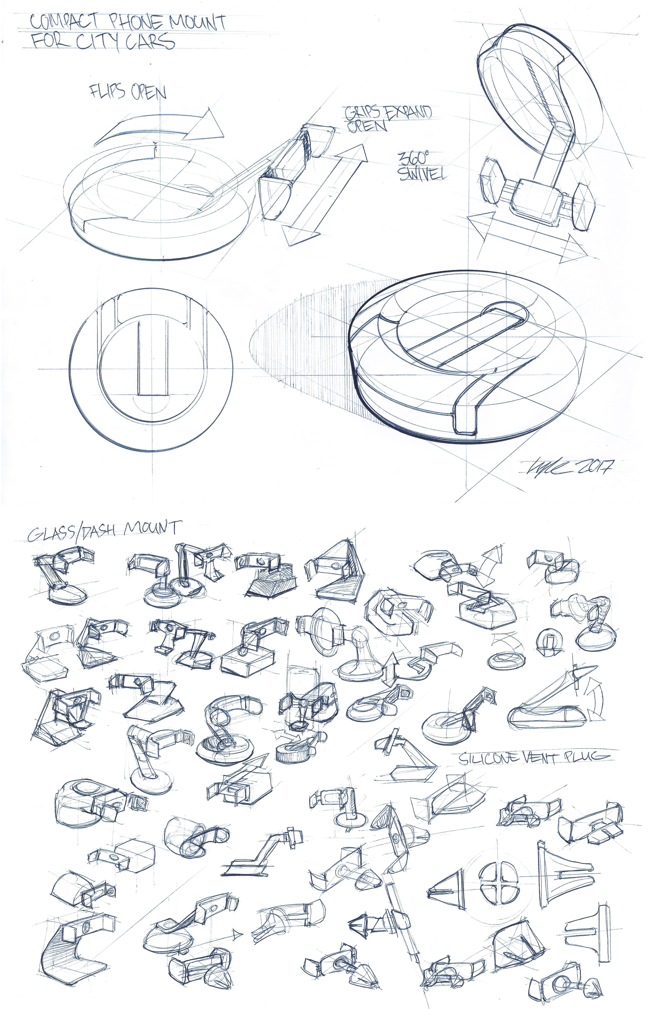 Quick Ideation on a Compact Phone Mount for City Cars - Ballpoint Pen on Paper