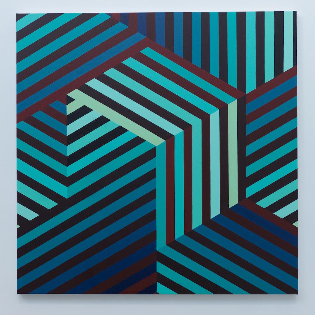 Tom Loveday Edge of Reality 3, 2018, Acrylic On Canvas 107 x 107 cm