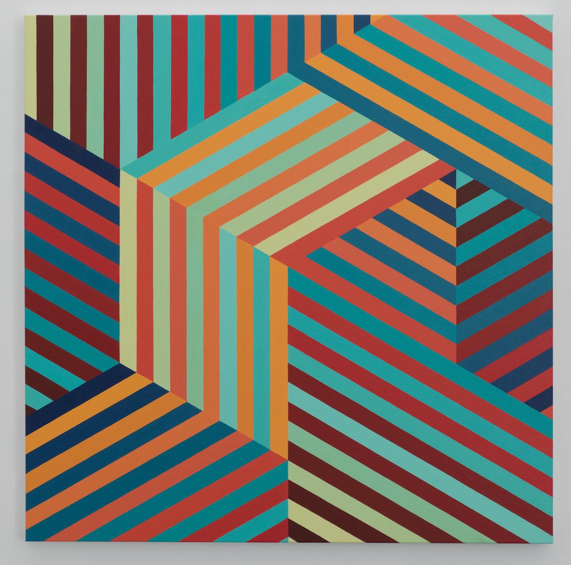 Tom Loveday Edge of Reality 4, 2018, Acrylic On Canvas 107 x 107 cm