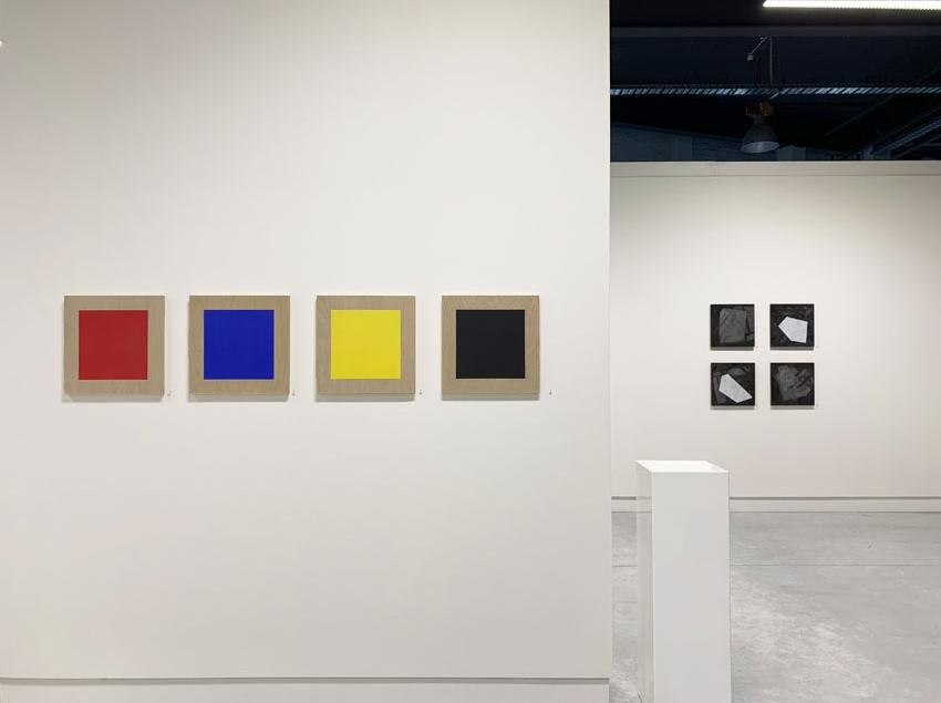 SQUARE at May Space, 2019, Installation with Tom Loveday,  The Colour B 1 to 4 , 2019 in the foreground. Photo by Gallery.