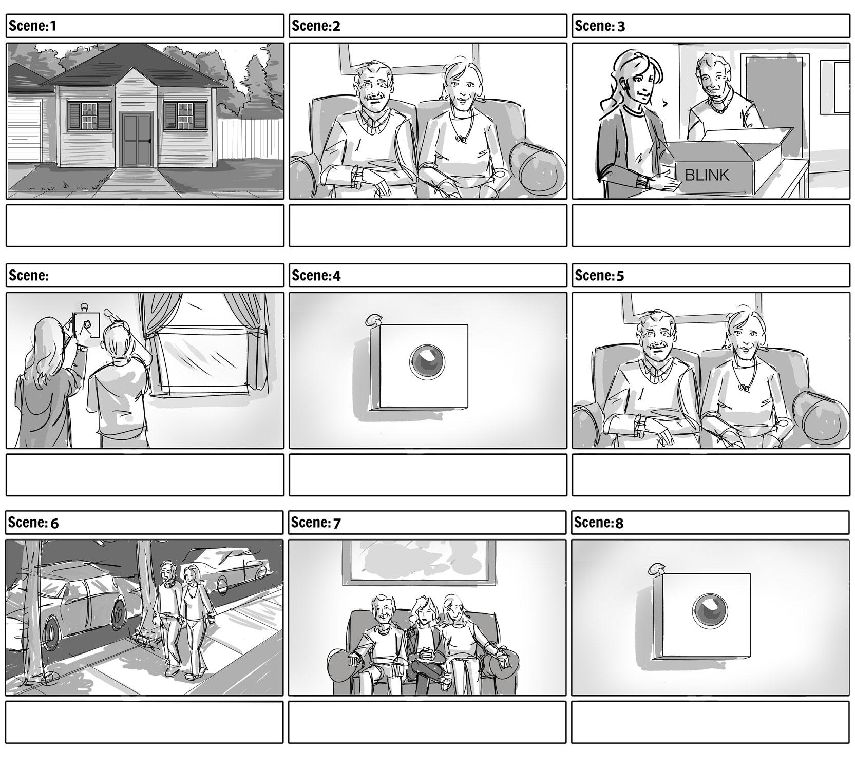 Amazon Blink Retired Couple Storyboards