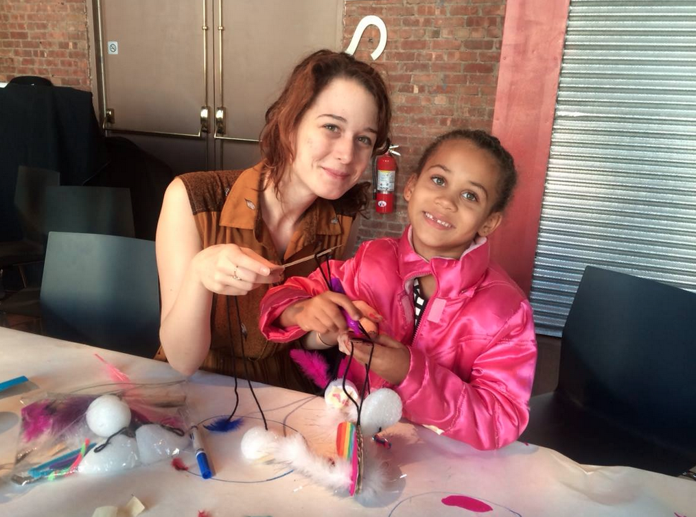 Working with students at BAMkids Marionette Workshop