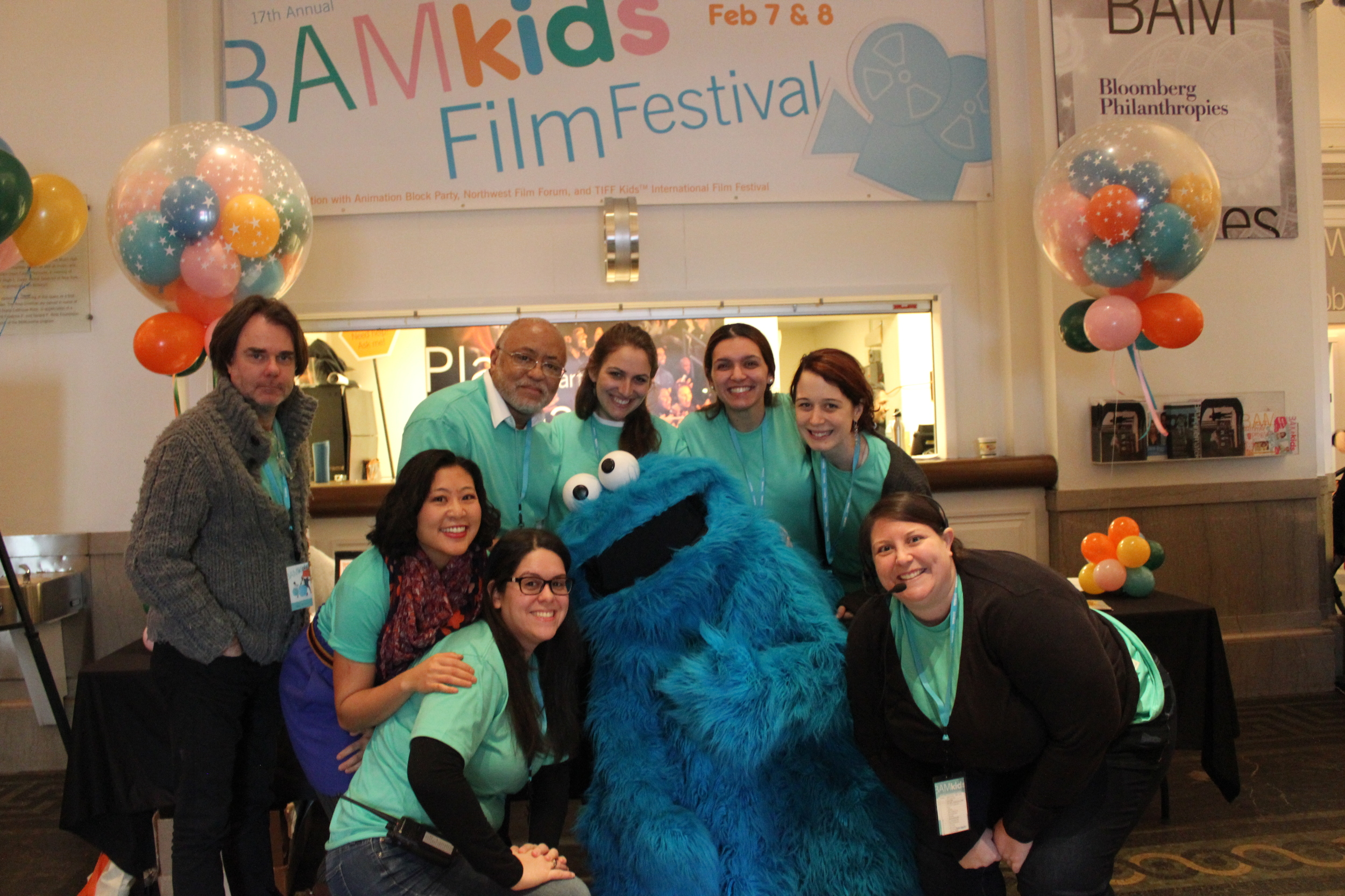 The BAM team with Cookie Monster at BAMkids Film Festival