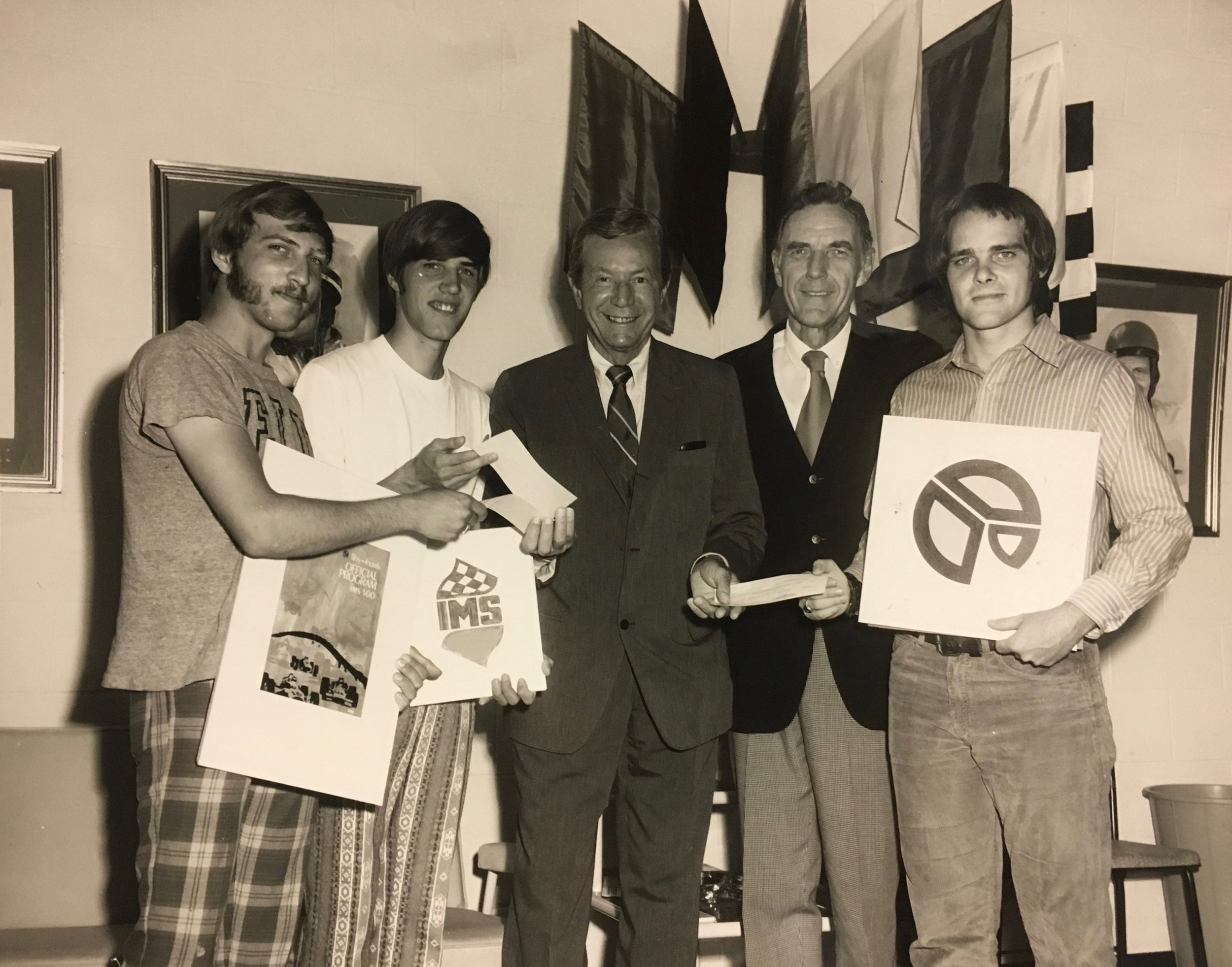 REW with students and Tony Hulman, 1971