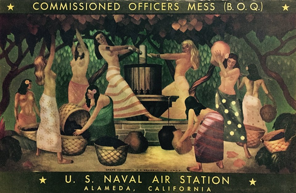 - Murals for the U.S. Naval Air Station, Alemeda, CA. In 1943 REW was commissioned to create a series murals depicting the development of California for the air station's Officer's Mess. These images were taken at the air station 50 years after they were completed. The murals show some paint loss but retain their historical significance. Since the air station's closing, it is not known if they still exist.