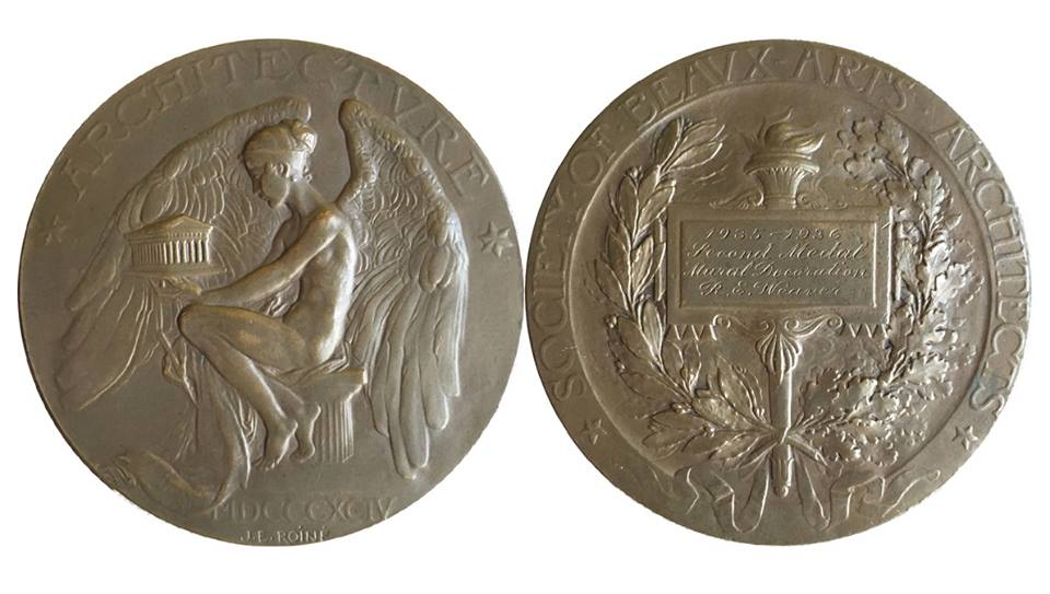 - Robert Edward Weaver received two medals from the prestigious Society of Beaux Arts Architects for his design for a mural in a country house in 1935-1936.