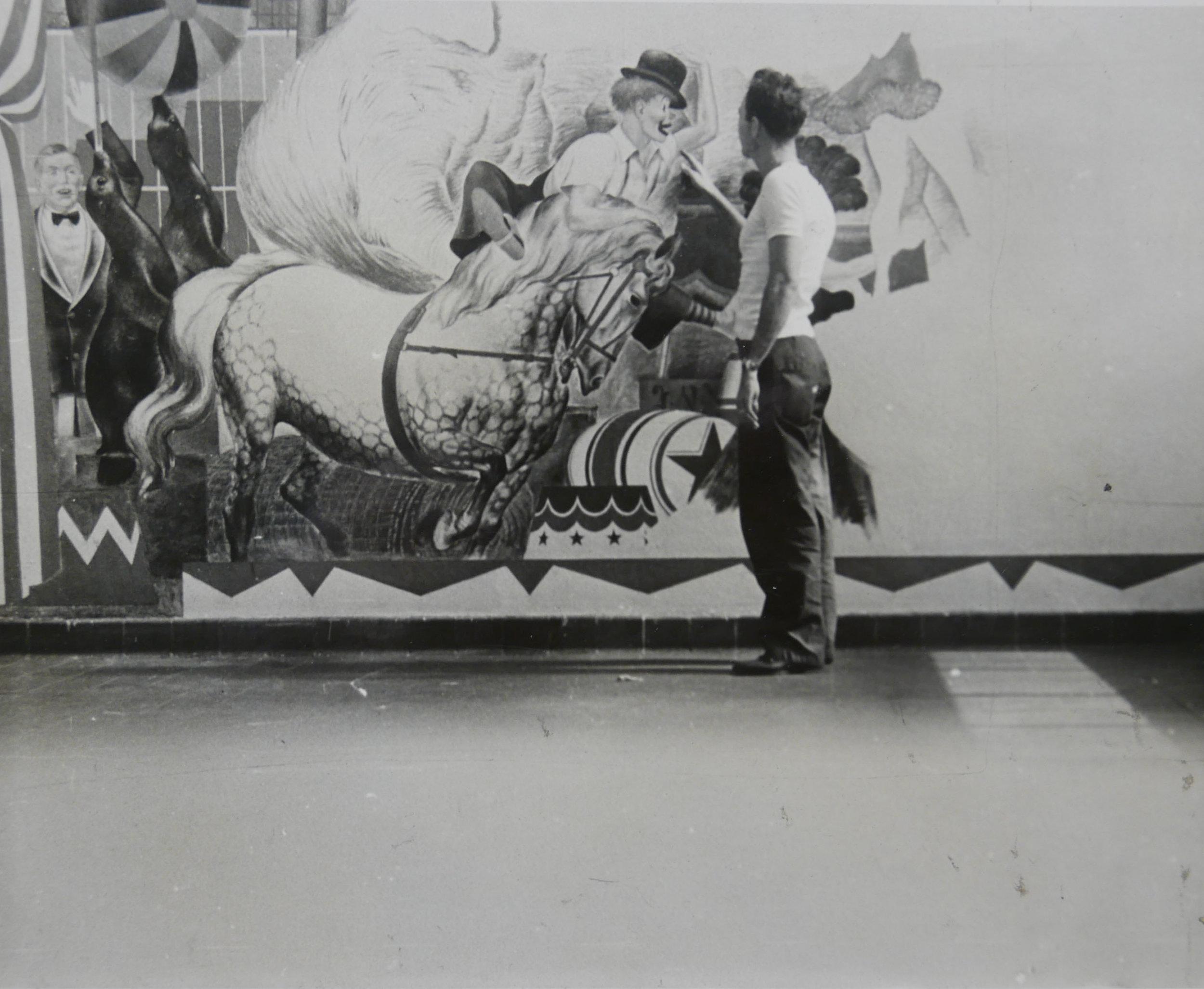 - REW working on the Methodist mural.