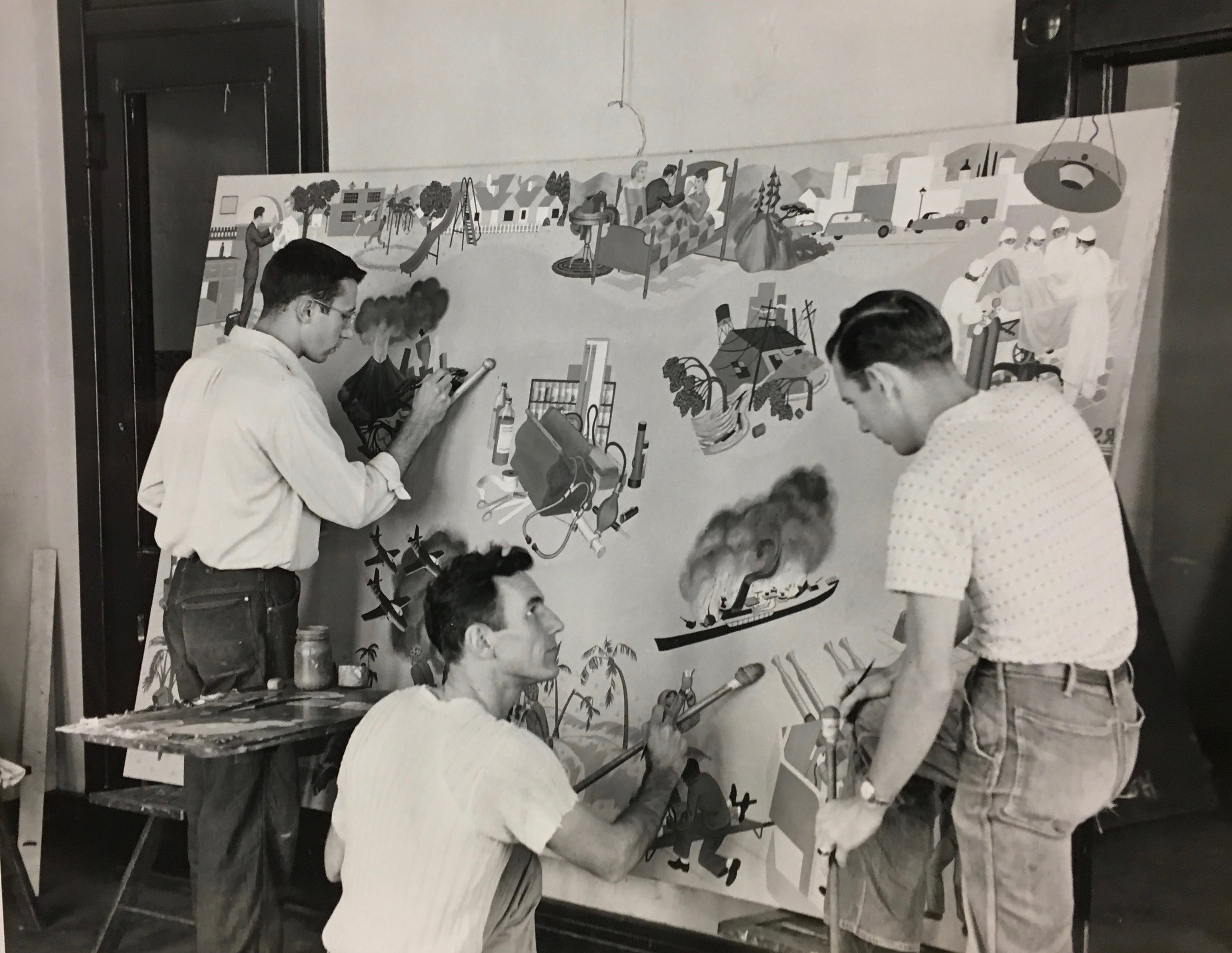 - REW with two of his students working on the Lilly murals.