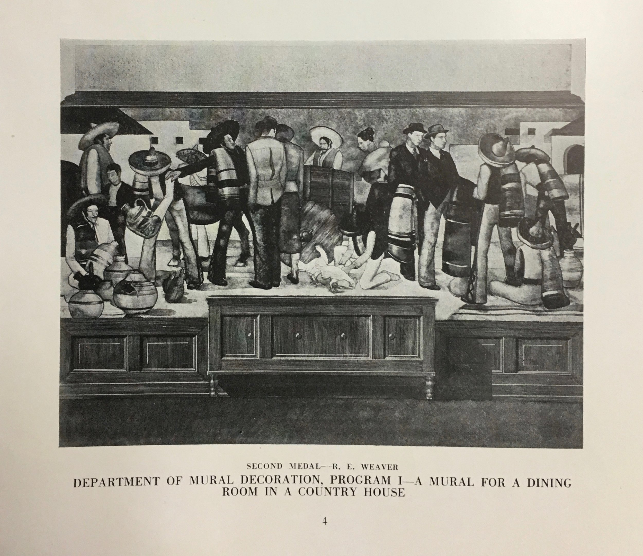REW's mural design entry to the Society of Beaux Arts Architects. (from the Society catalogue of 1936)