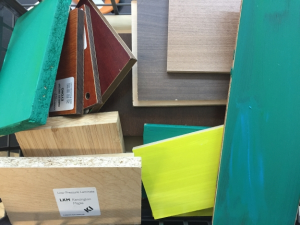 Recycled wood samples from interior designers