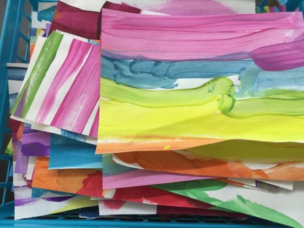 Unclaimed/unwanted paintings cut into smaller pieces