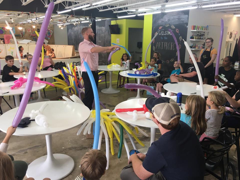 Thursday, May 31 - Balloon Twisting Workshop with Balloon Guy Joshua Jones4:00 pm - 5:00 pm$25/childKiddos will get to learn balloon twisting techniques, including how to make things such as dogs, giraffes, elephants,swords, bow/arrow and more. Joshua will give them practical ways of remembering how to twist each creation.This workshop is great for kids of all ages, however, parents are encouraged to assist the younger kids as there is some tying involved.Sign up here!