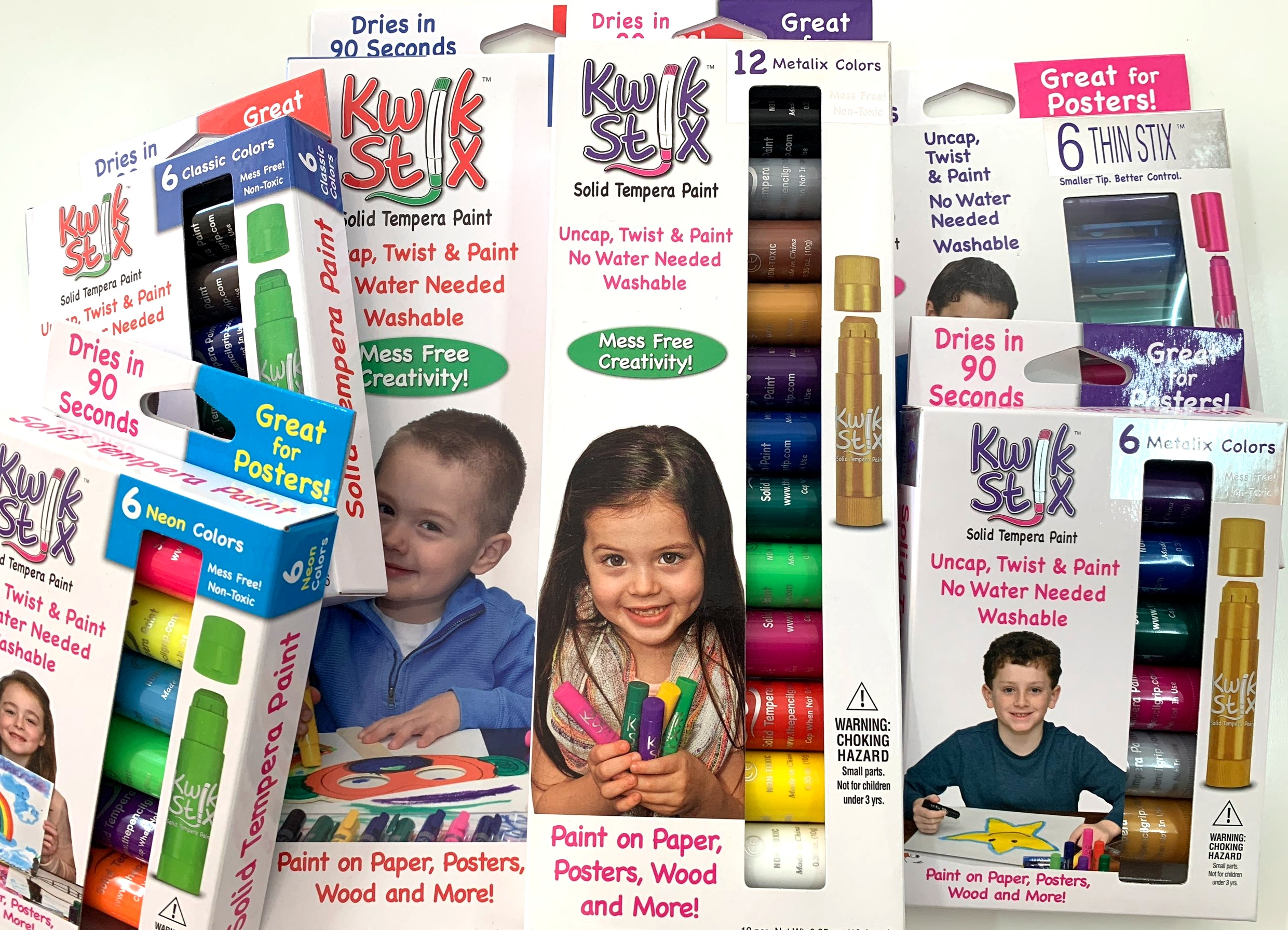 Kwik Sticks come in a variety of sizes and colors.