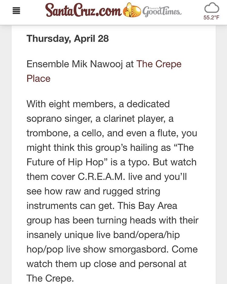 Thank you  Santa Cruz.com! See you at the  Crepe Place tonight!