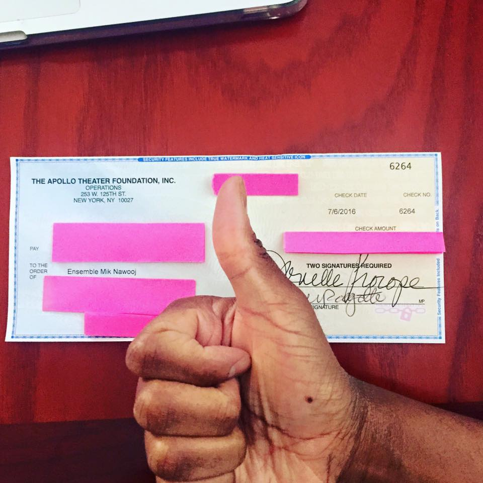 They sent us a check!It's official! We're going to be at  Apollo Theater  ' s music cafe next March! NYC, here we come!