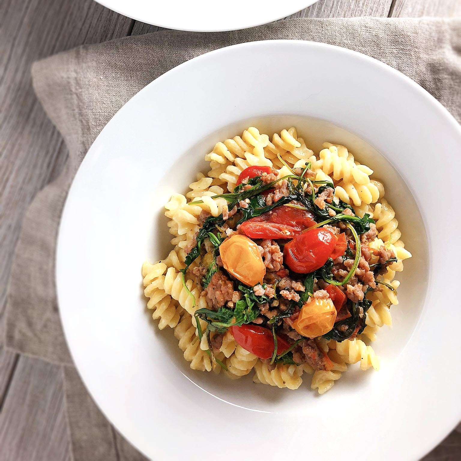 Cheesy Fusilli with Tomatoes & Sausage