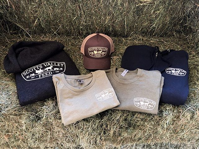Hay! This just in - Scotts Valley Feed is now selling apparel. We have hats, shirts and hoodies in an array of colors. Come check them out!  #scottsvalleyfeed #swag #shoplocal #animallovers