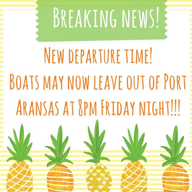 Due to dredging in the channel, we have decided to allow boats to leave at 8pm Friday night. This will provide better visibility and safer passage around the dredge. Please pay attention as you head out and passed it, especially if you leave after dark!