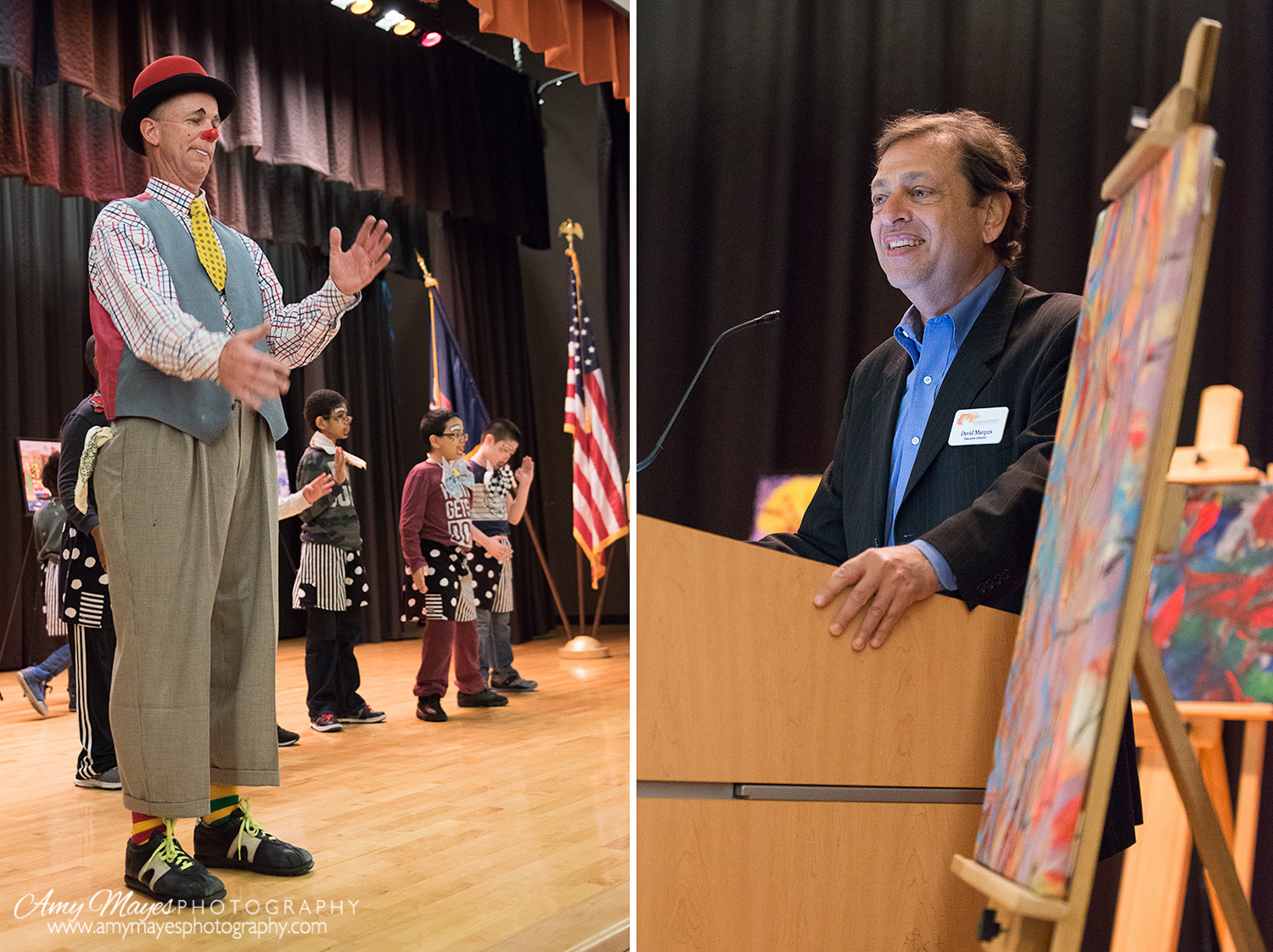 Left: Clown Performance  Right: David Marquis, Executive Director