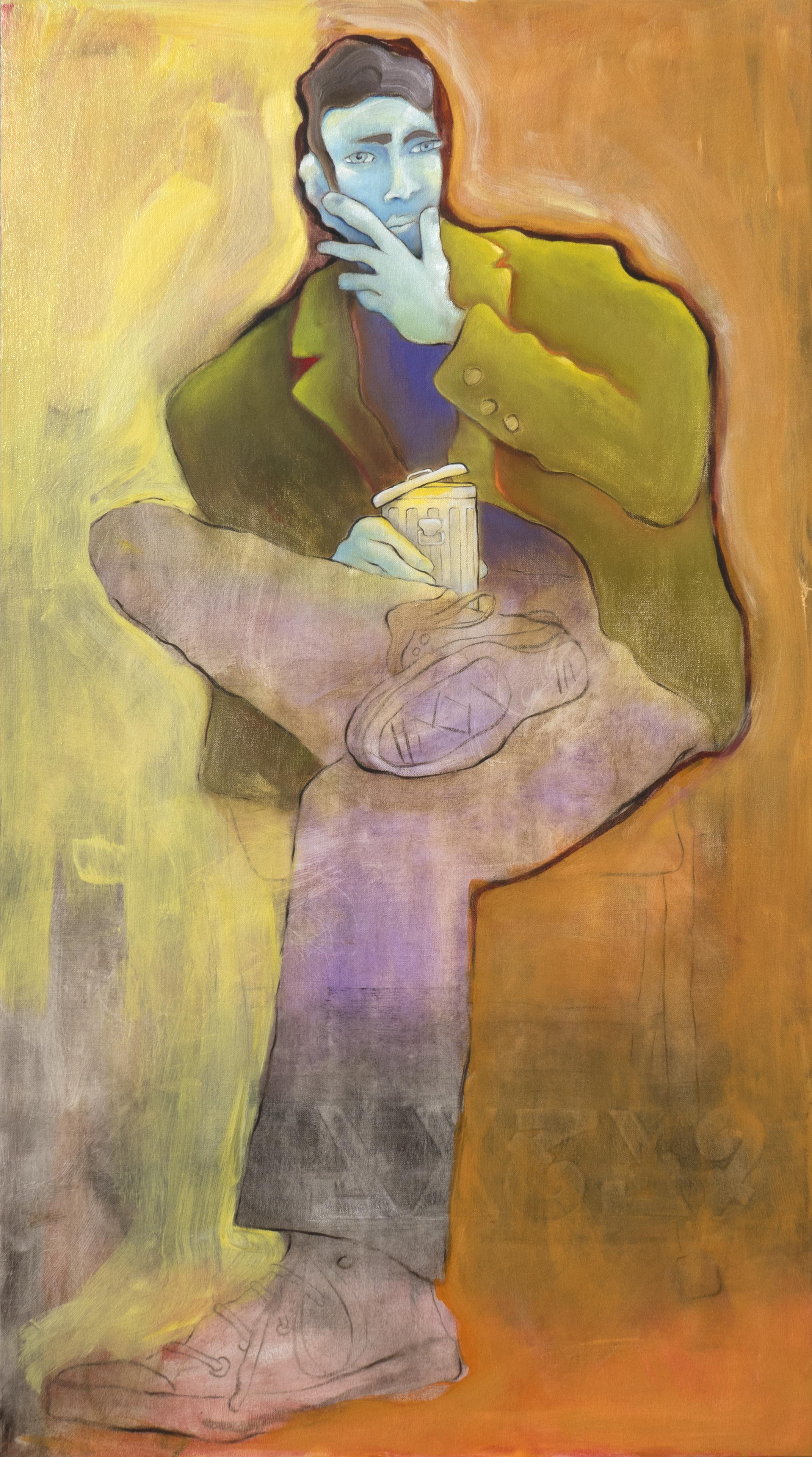"Laura Hipke ""Scotoma"" (Portrait of Vonn Sumner for the Trashcan School) Oil paint on linen 45 X 25 inches 2018"