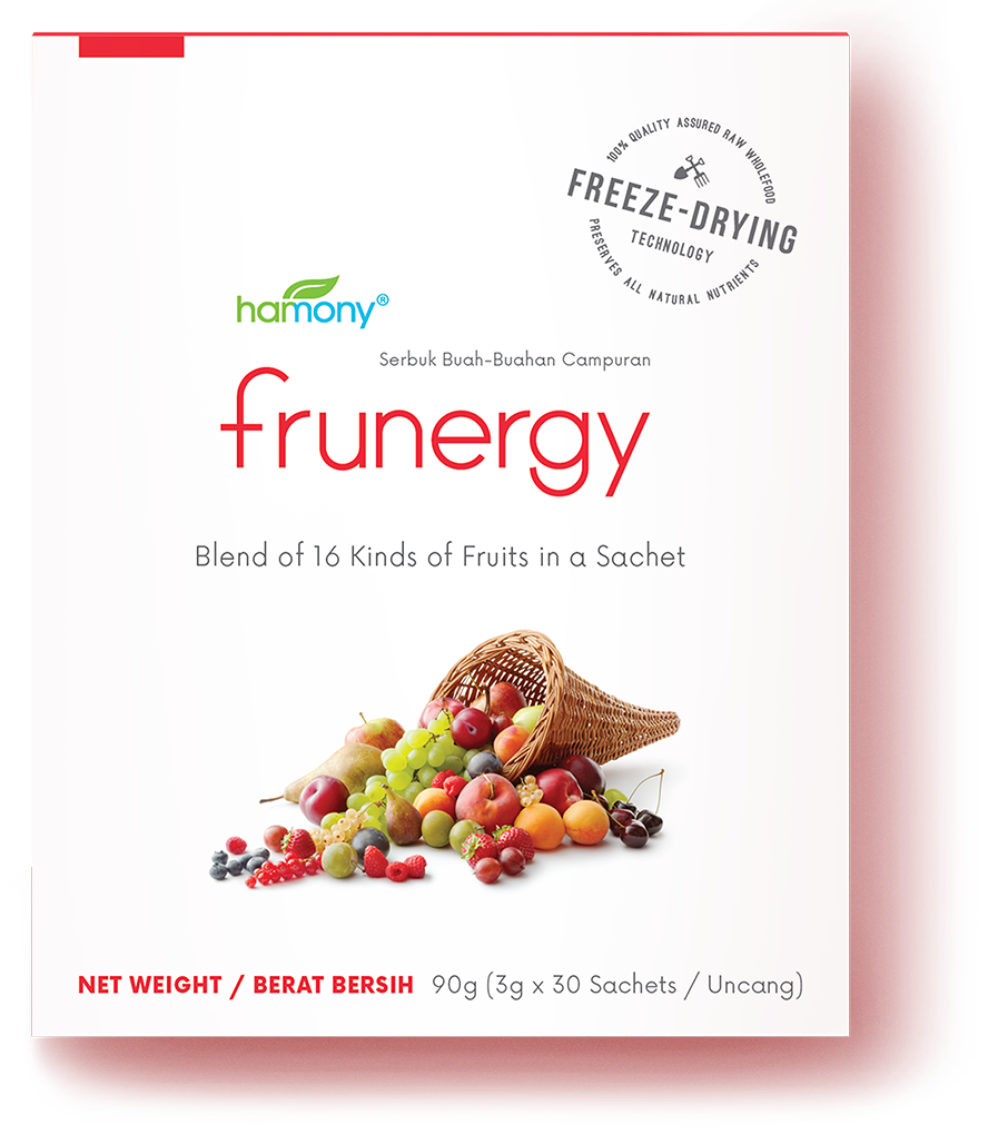 16 types of fruits IN JUST ONE SECOND - 30 x 3000 mg | RM 136.80No time for fruits? No prob.Frunergy is carefully formulated to house more than 100% RDA of naturally occurring, biologically active Vitamin C.