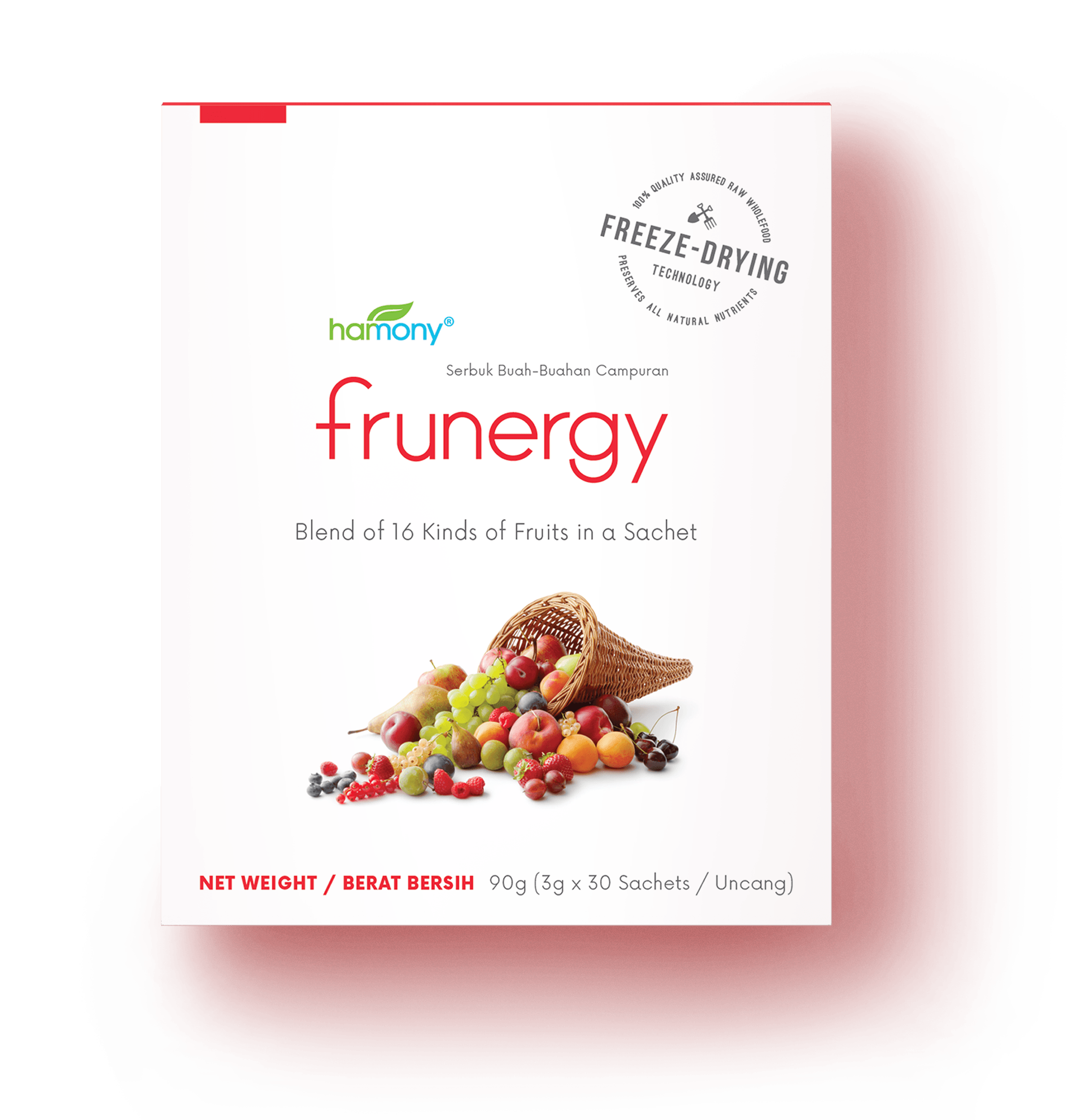 no time FOR FRUITS —NO PROBLEM - 30 x 3000 milligrams | RM 136.80Frunergy is carefully formulated to deliver all the benefits of fruits as found in Nature. Each sachet of Frunergy provides more than 100% RDA of naturally occurring, biologically active Vitamin C.That is because we packed 16 different types of fruits in Frunergy!