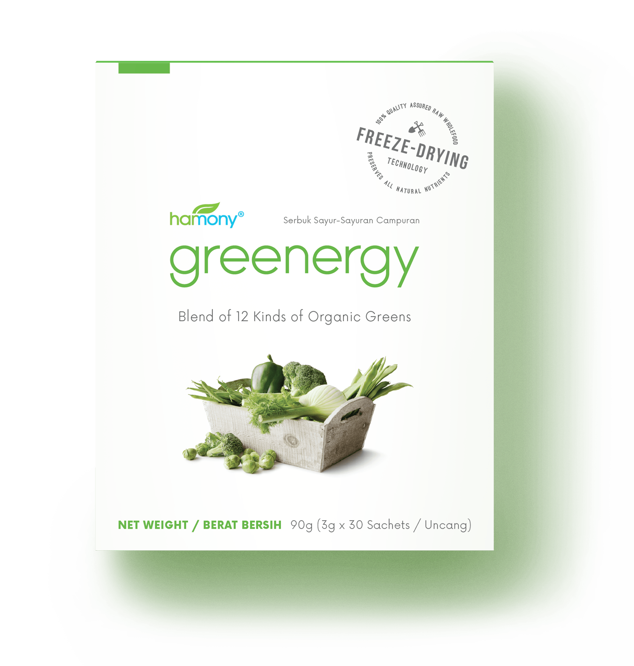 dislike eatin'your veggies,try greenergy - 30 x 3000 milligrams | RM 94.40Still munching on your greens? Switch to Harmony® Greenergy!Uniquely and carefully formulated to deliver all the goodness of 12 different kinds of organic greens.Greenergy allows you to get all the nutrients in veggies without having to eat them!