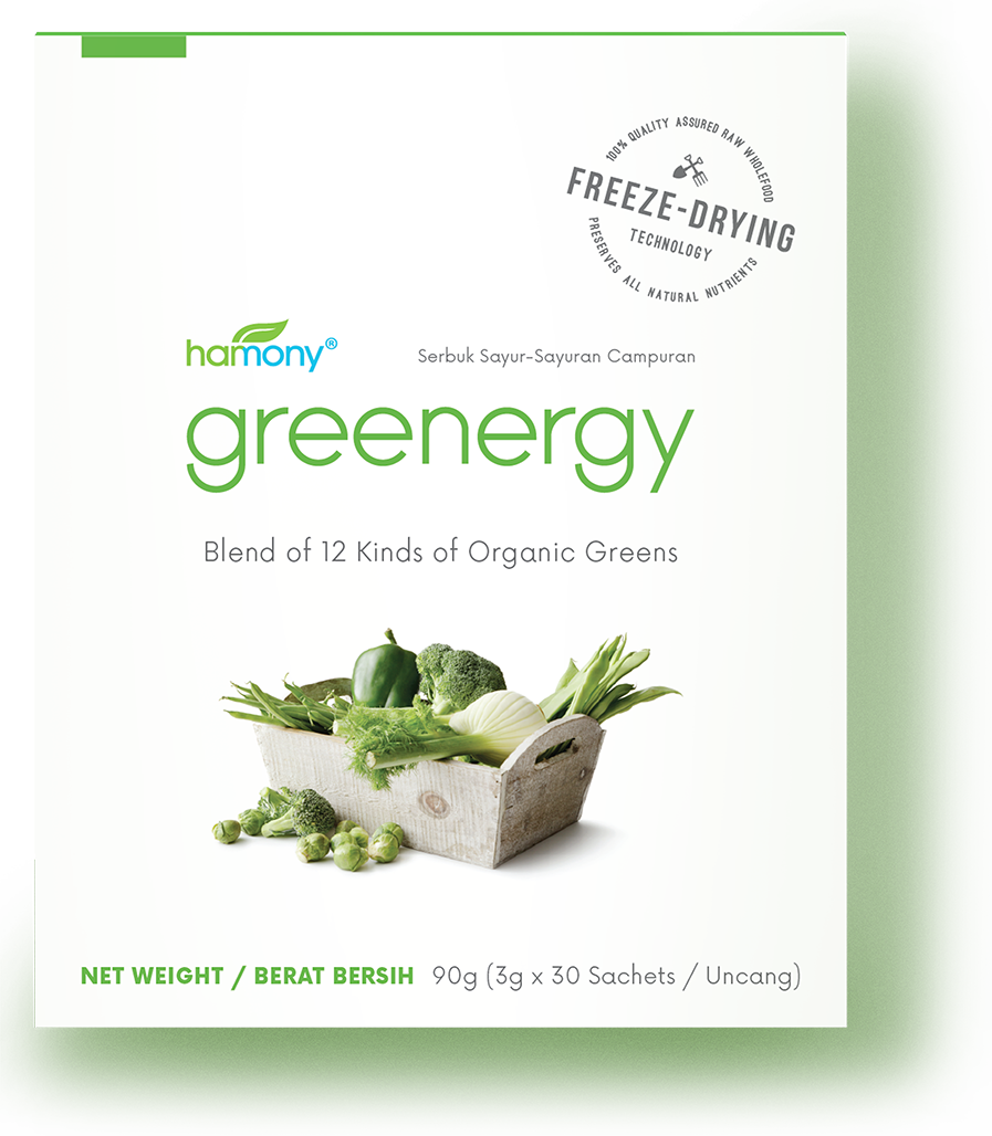 hate veggies,try greenergy - 30 x 3000 mg  |  RM 94.40Uniquely and carefully formulated to deliver all the goodness of 12 different kinds of organic greens. Greenergy allows you to get all the nutrients in veggies without having to eat them!