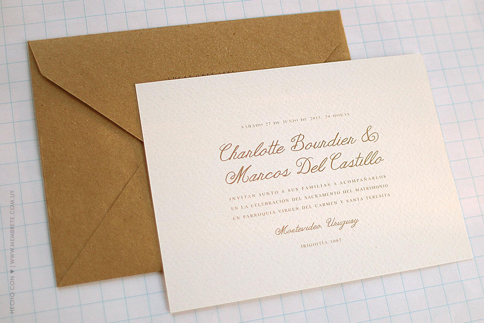 Charlotte & Marcos ♥ Membrete   Invitaciones en papel   www.membrete.com.uy