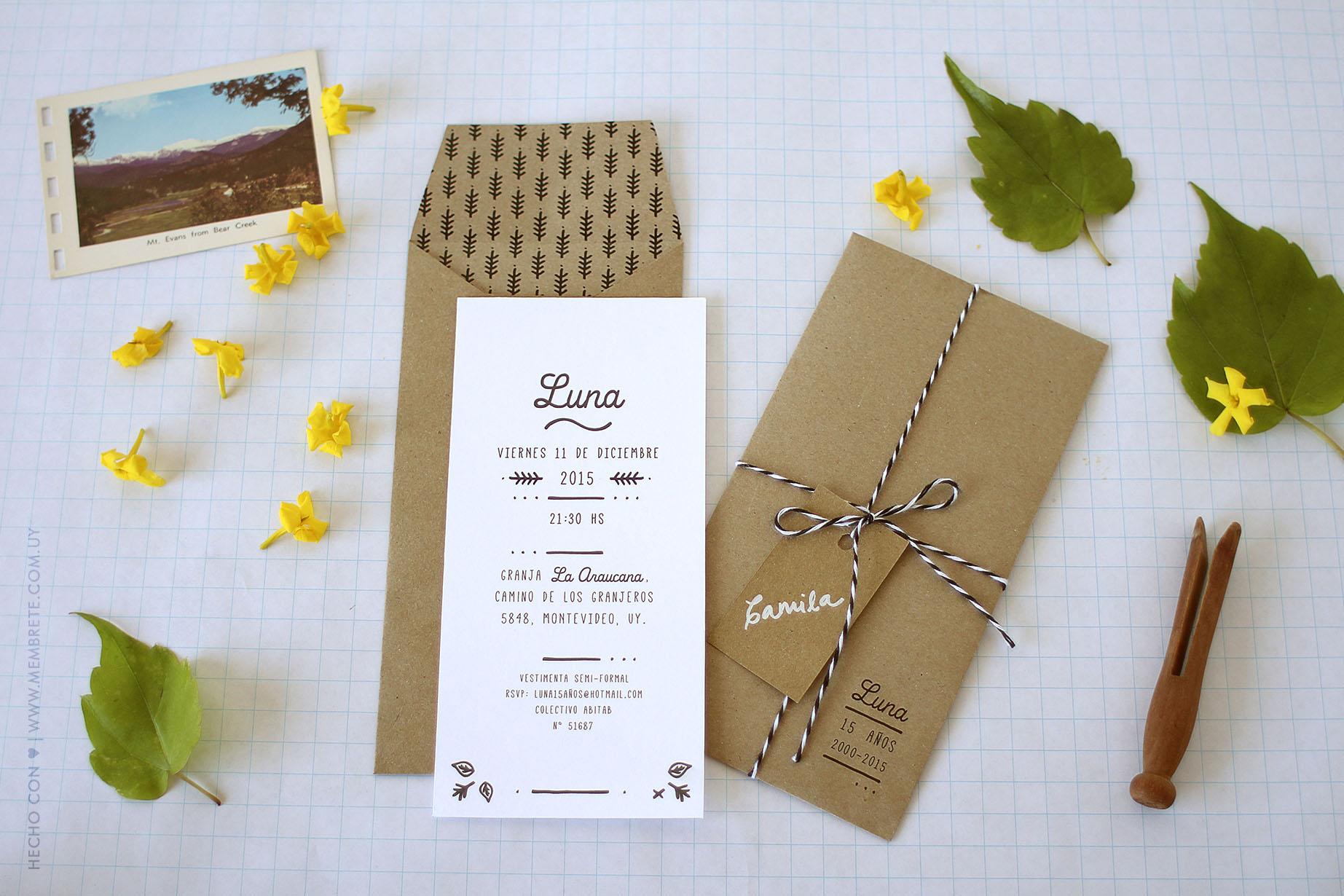 Luna ♪ Fiesta 15 | Membrete | Invitaciones en papel | www.membrete.com.uy