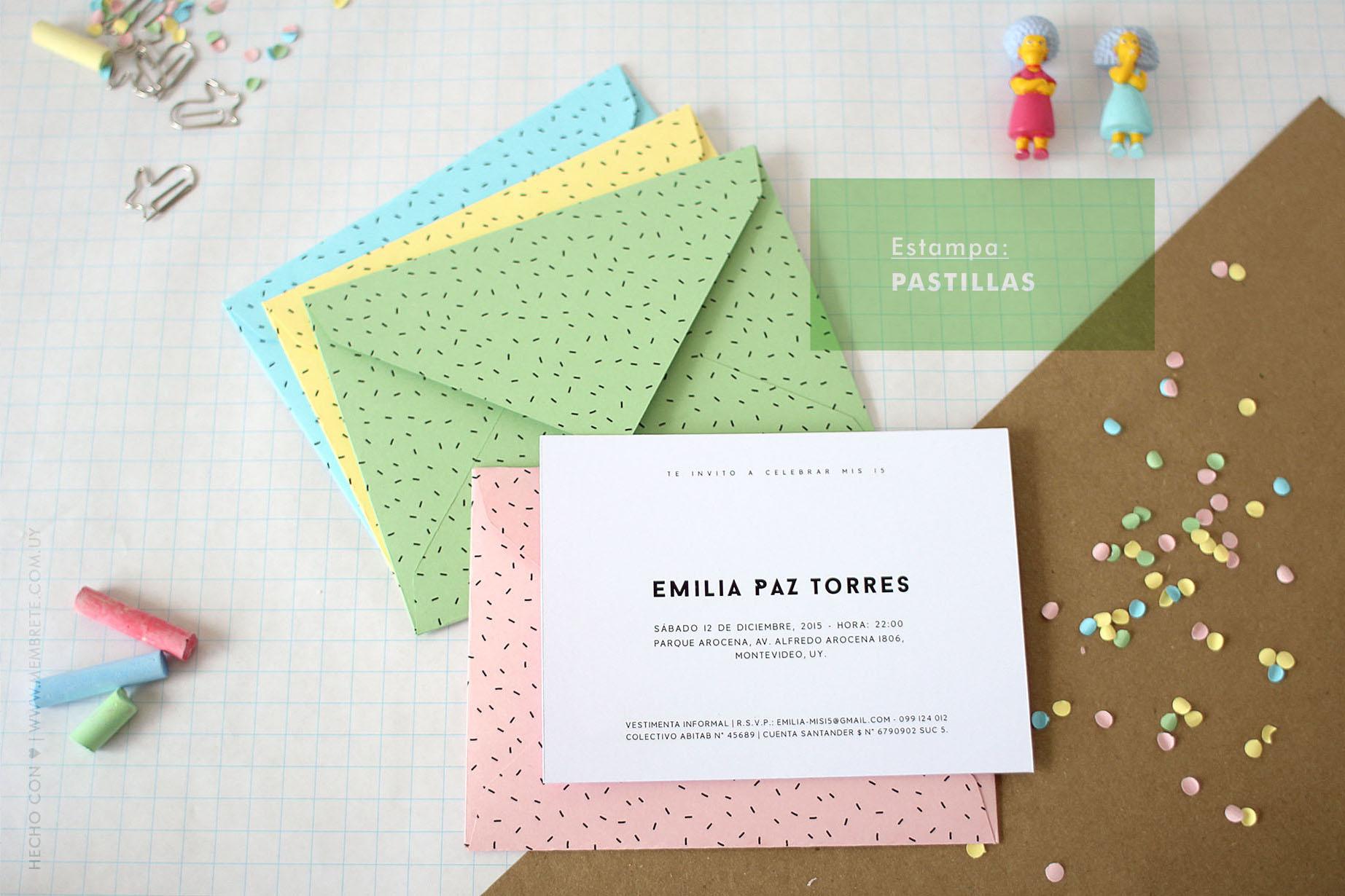 Emilia ♪ Fiesta 15 | Membrete | Invitaciones en papel | www.membrete.com.uy