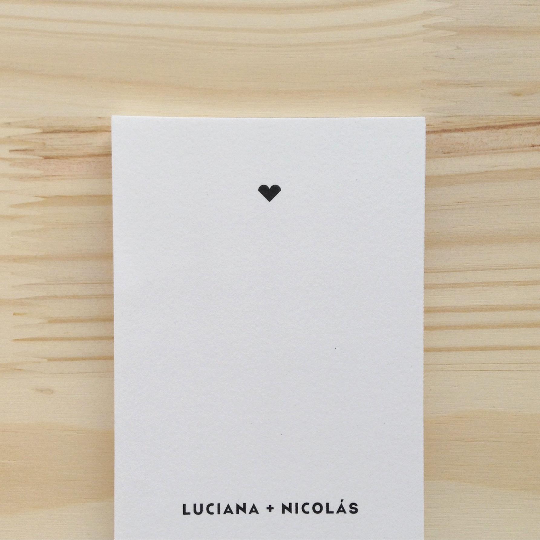 TARJETA   Boda: Luciana + Nicolás
