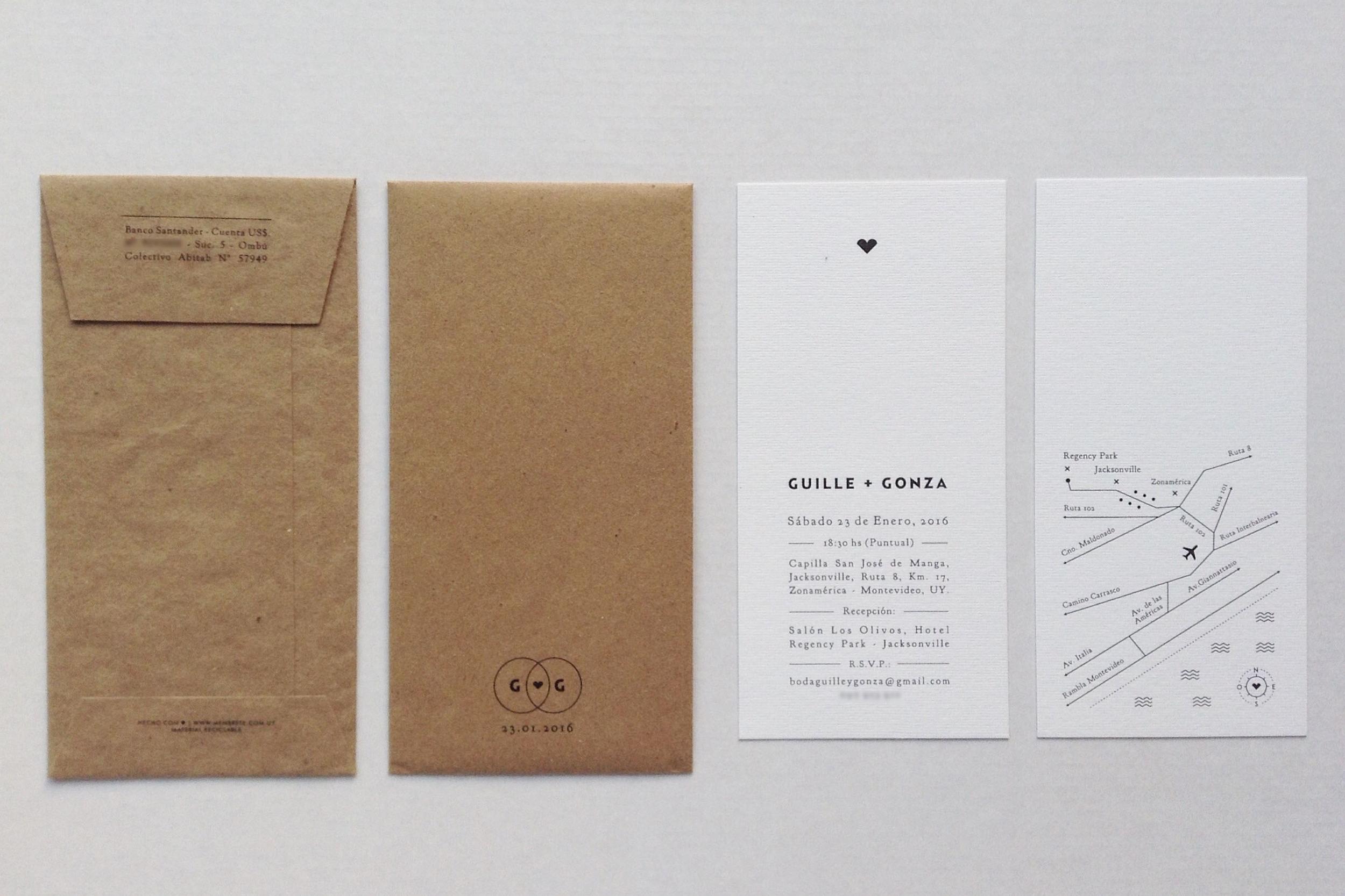 TARJETA + SOBRE   Boda: Guille + Gonza