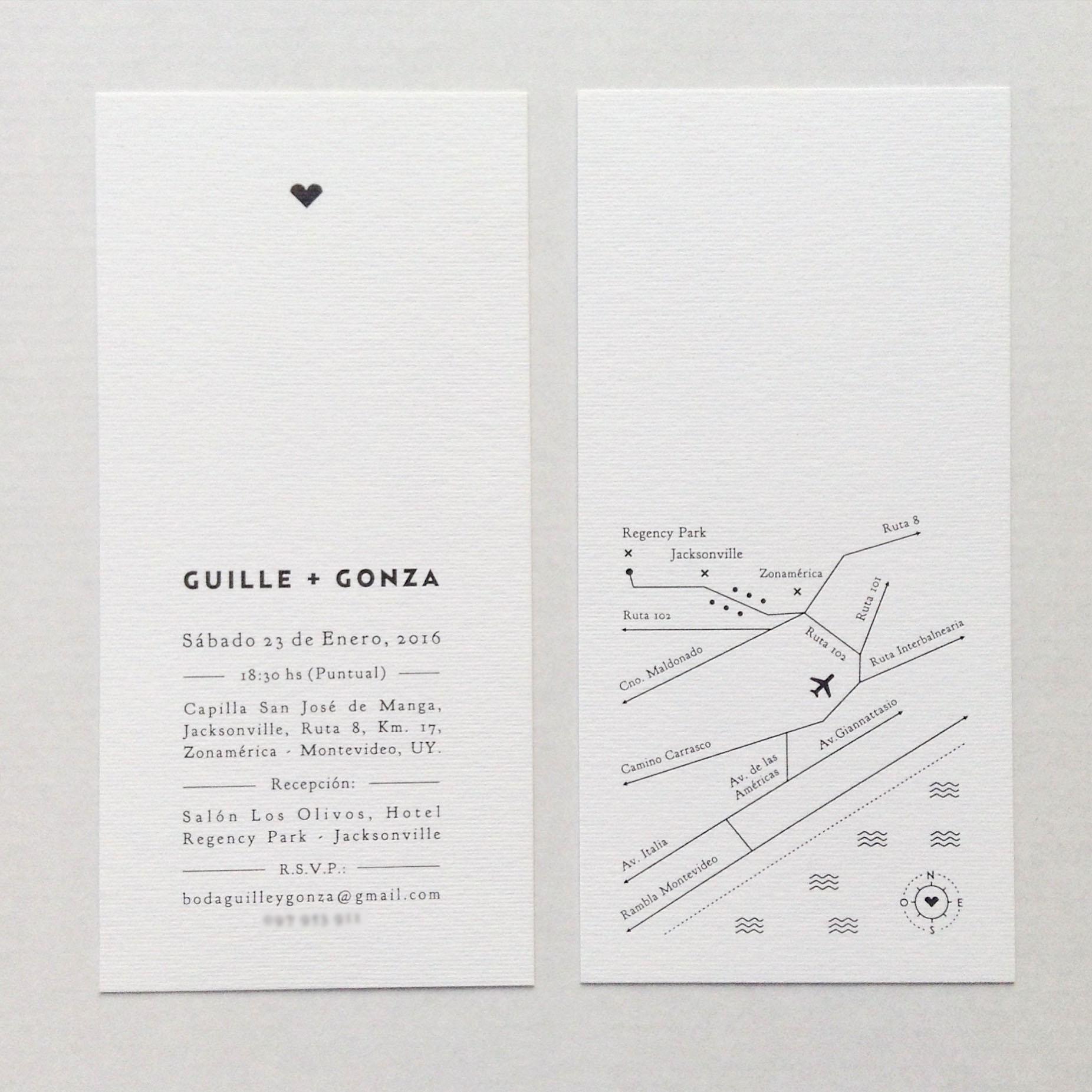 TARJETA   Boda: Guille + Gonza