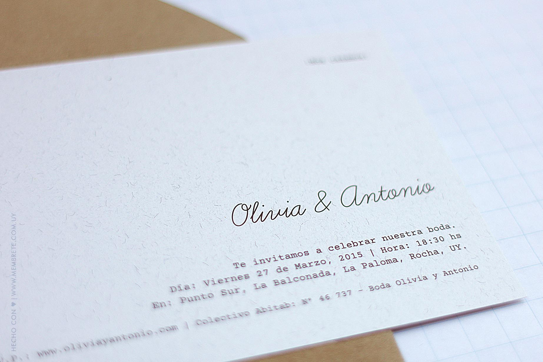Olivia & Antonio ♥ Membrete   Invitaciones en papel   www.membrete.com.uy