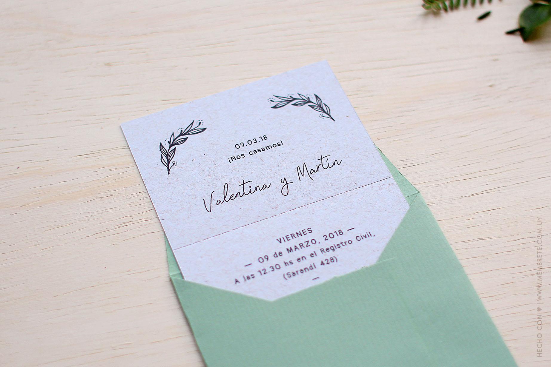 Valentina y Martín, Categoría: Invitaciones de Bodas, MEMBRETE Diseño gráfico & Papelería - www.membrete.com.uy