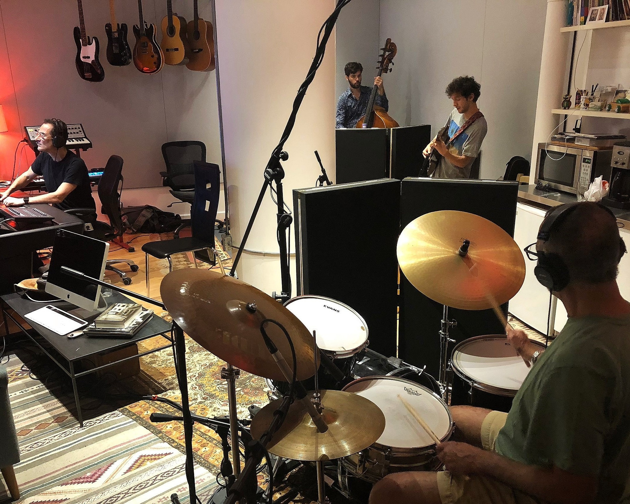 L-R: Zé Luis (on the console), Eduardo Belo: upright bass, Pedro Martins: electric guitar and Helio Schiavo: drums at The Atelier Music Studio.