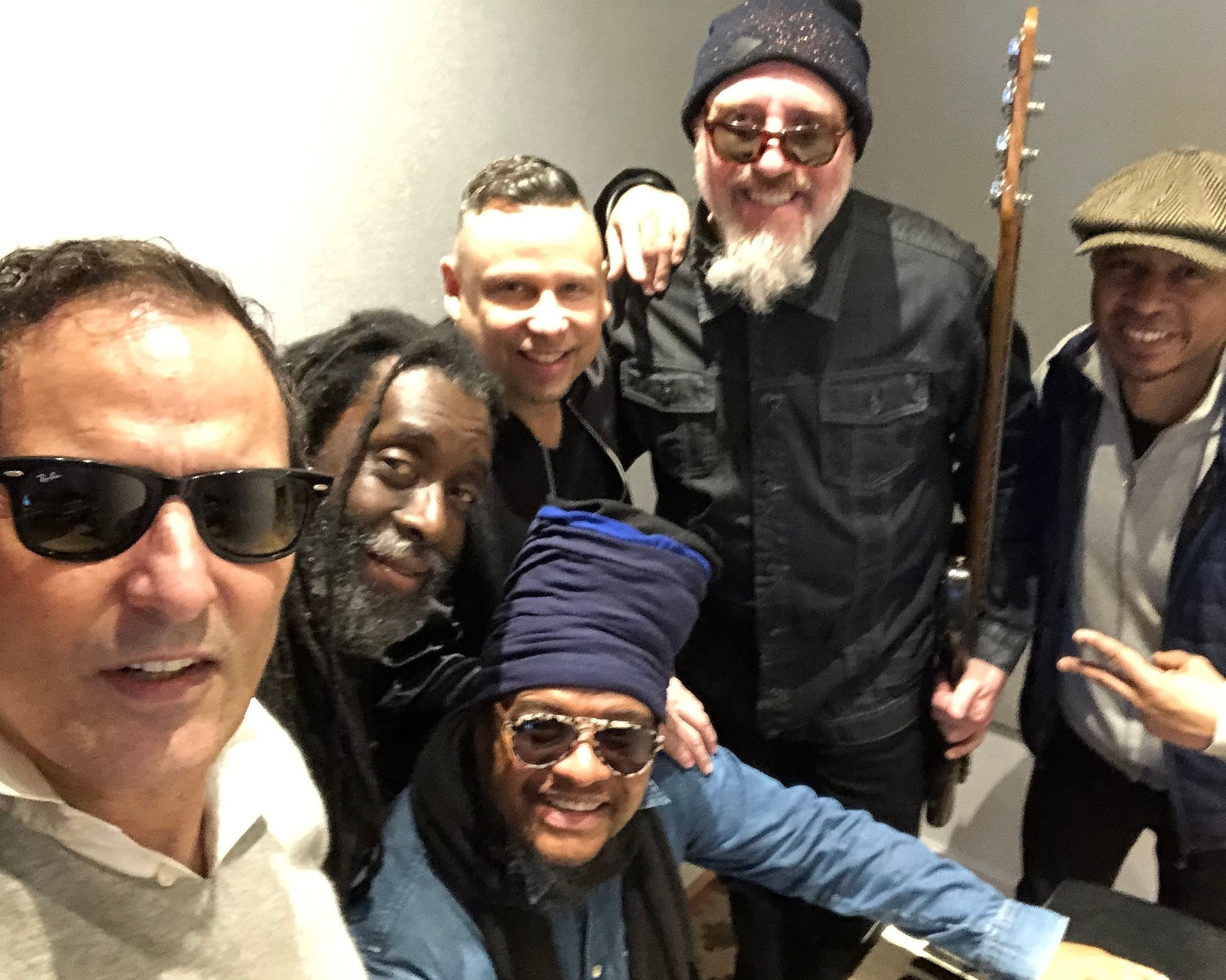 L-R: Zé Luis, Sidney Mills, Maxi Priest, JJ Sansaverino, Paul Nowinski and Eric Brow at The Atelier Music Studio.