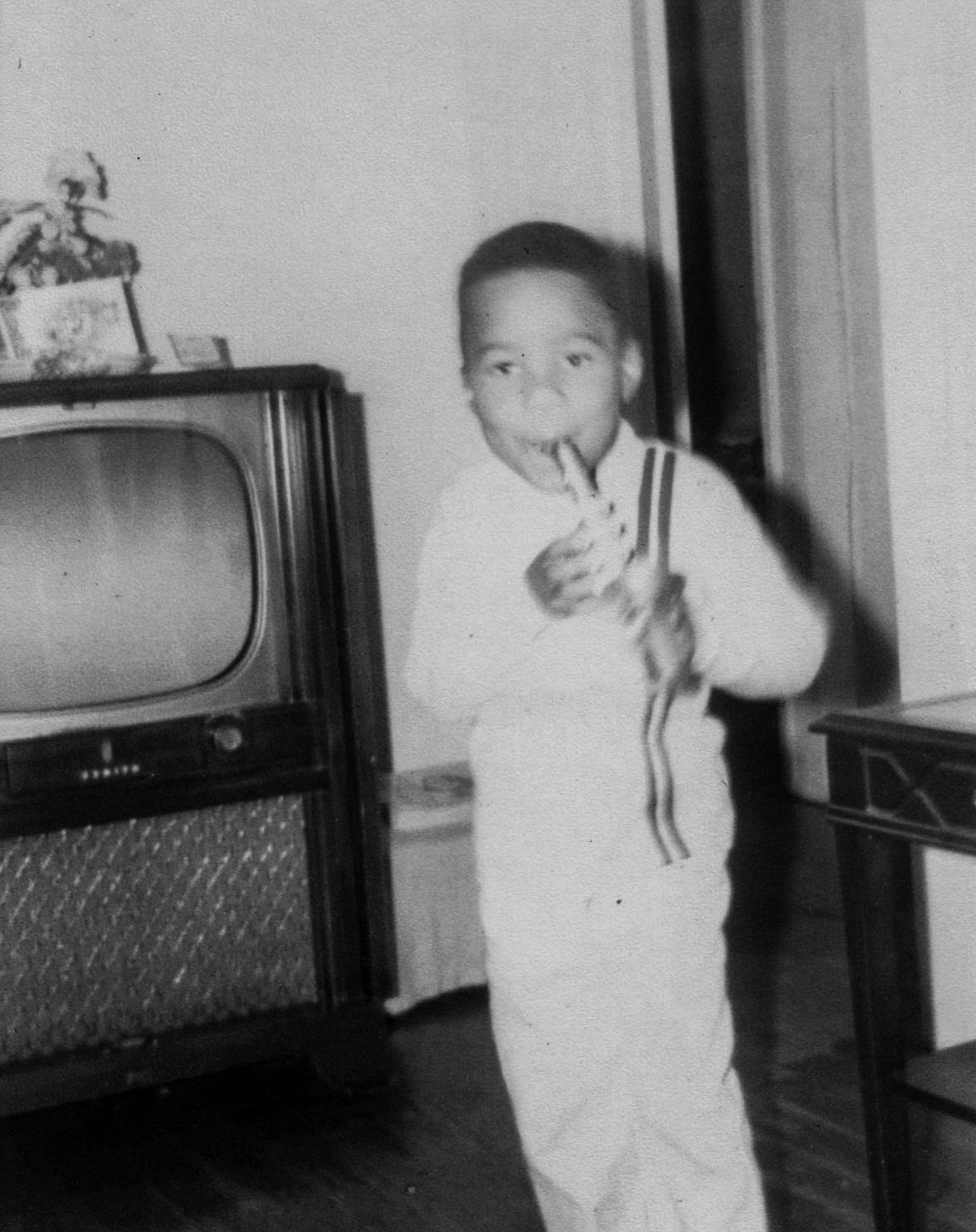 Chris Thomas King at 5-years-old performing on his horn December, 1967.