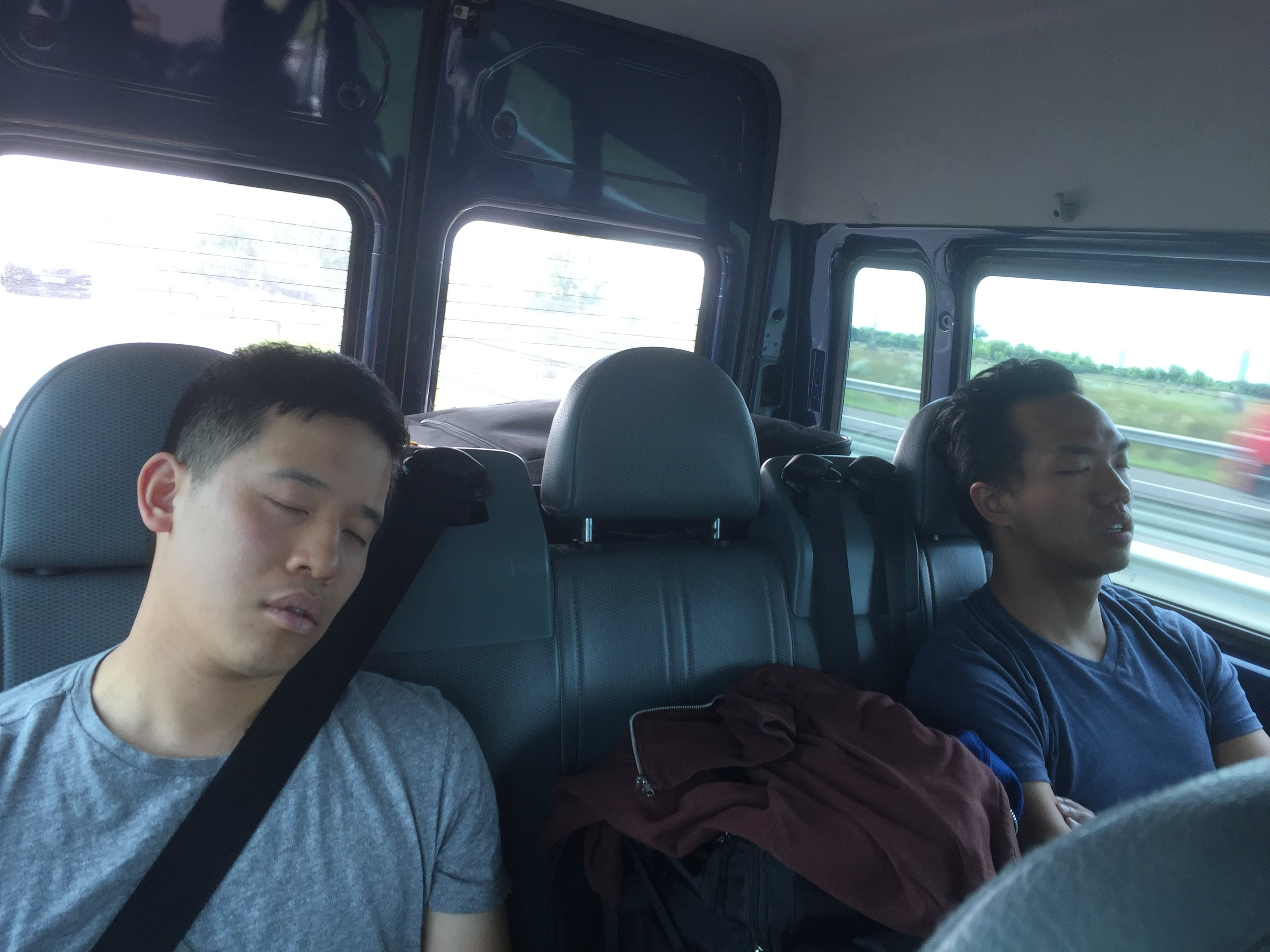 Every trip there is always a photo of our team sleeping in transit...