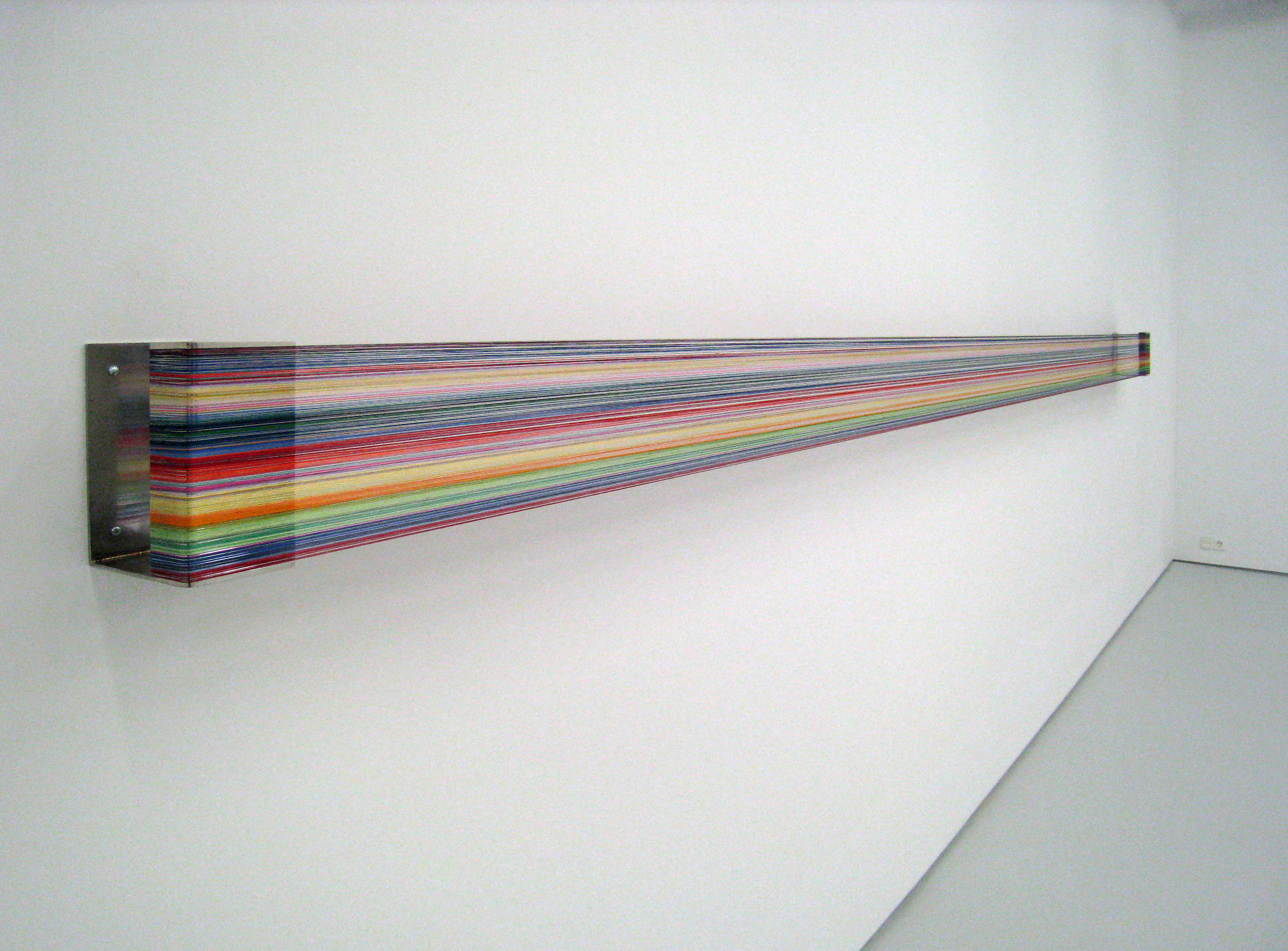 Fernanda Fragateiro  Nao Ligar #4 , 2008 polished stainless steel, silk thread, 485 x 20 x 15 cm