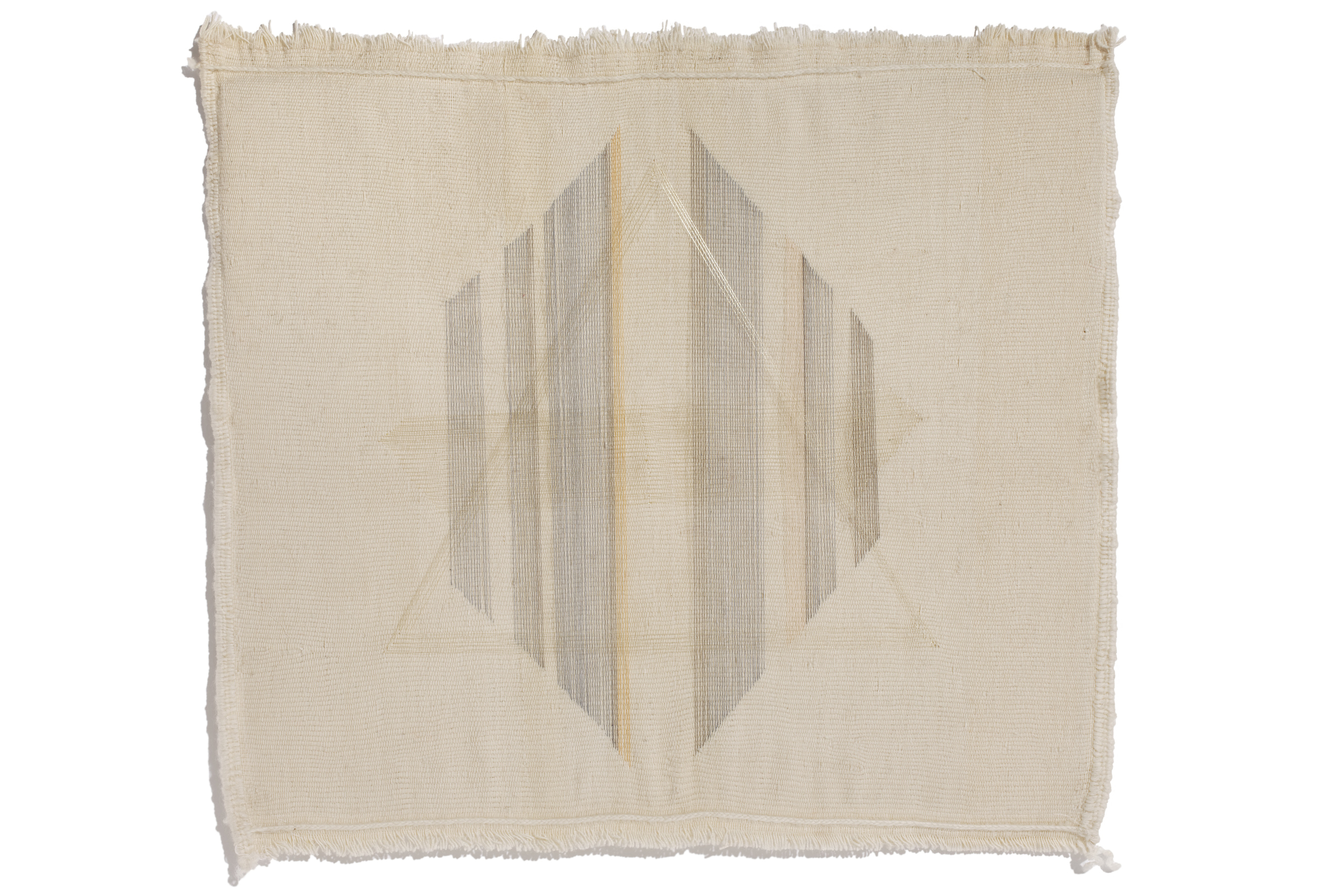 Haleh Redjaian  Untitled , 2015 thread on hand woven textile, 75 x 75 x 8 cm framed