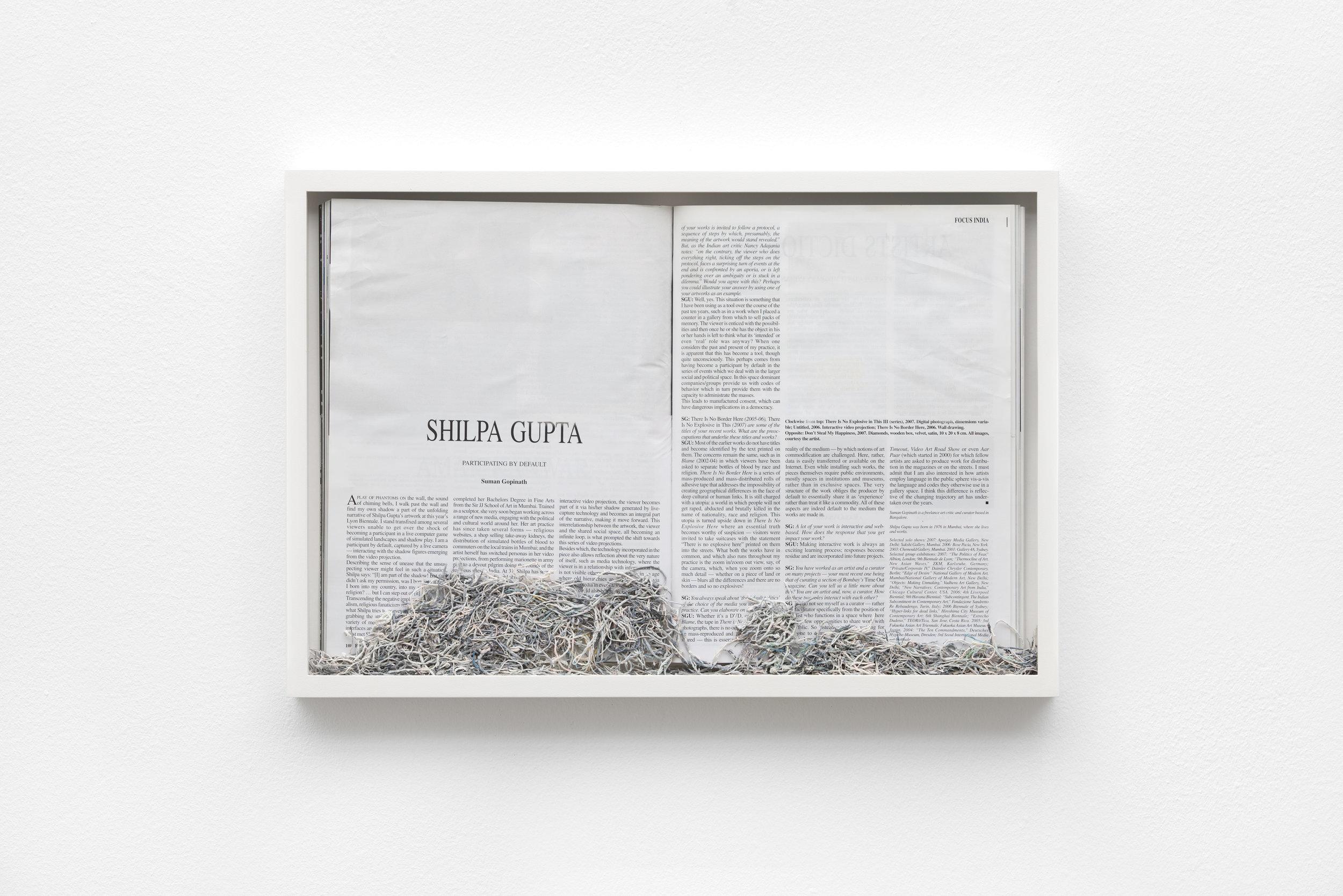 Maria Anwander  Erased Gupta , 2014  Framed magazine and eraser abrasion, 31 x 45,5 cm