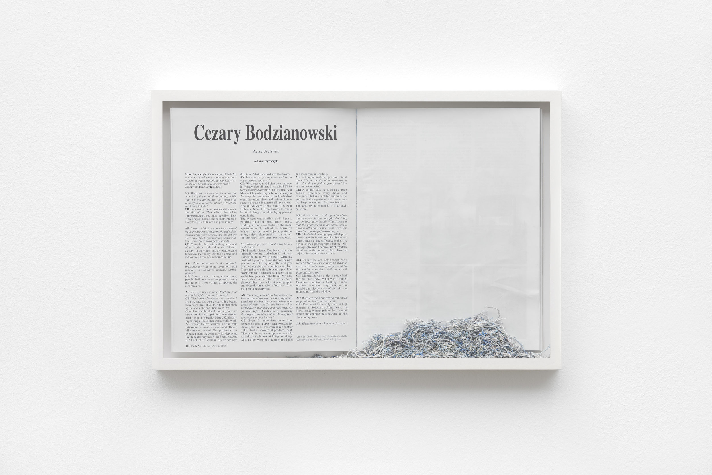 Maria Anwander   Erased Bodzianowski , 2014 Framed magazine and eraser abrasion, 31 x 45,5 cm