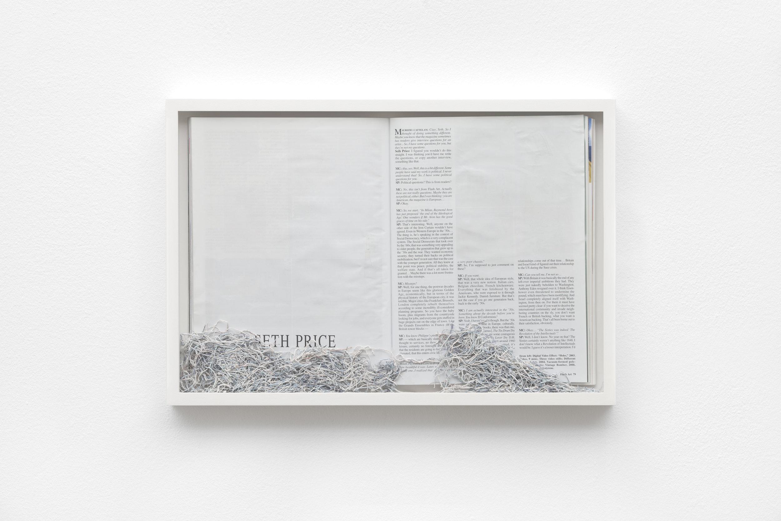 Maria Anwander  Erased Prince , 2014 Framed magazine and eraser abrasion, 31 x 45,5 cm