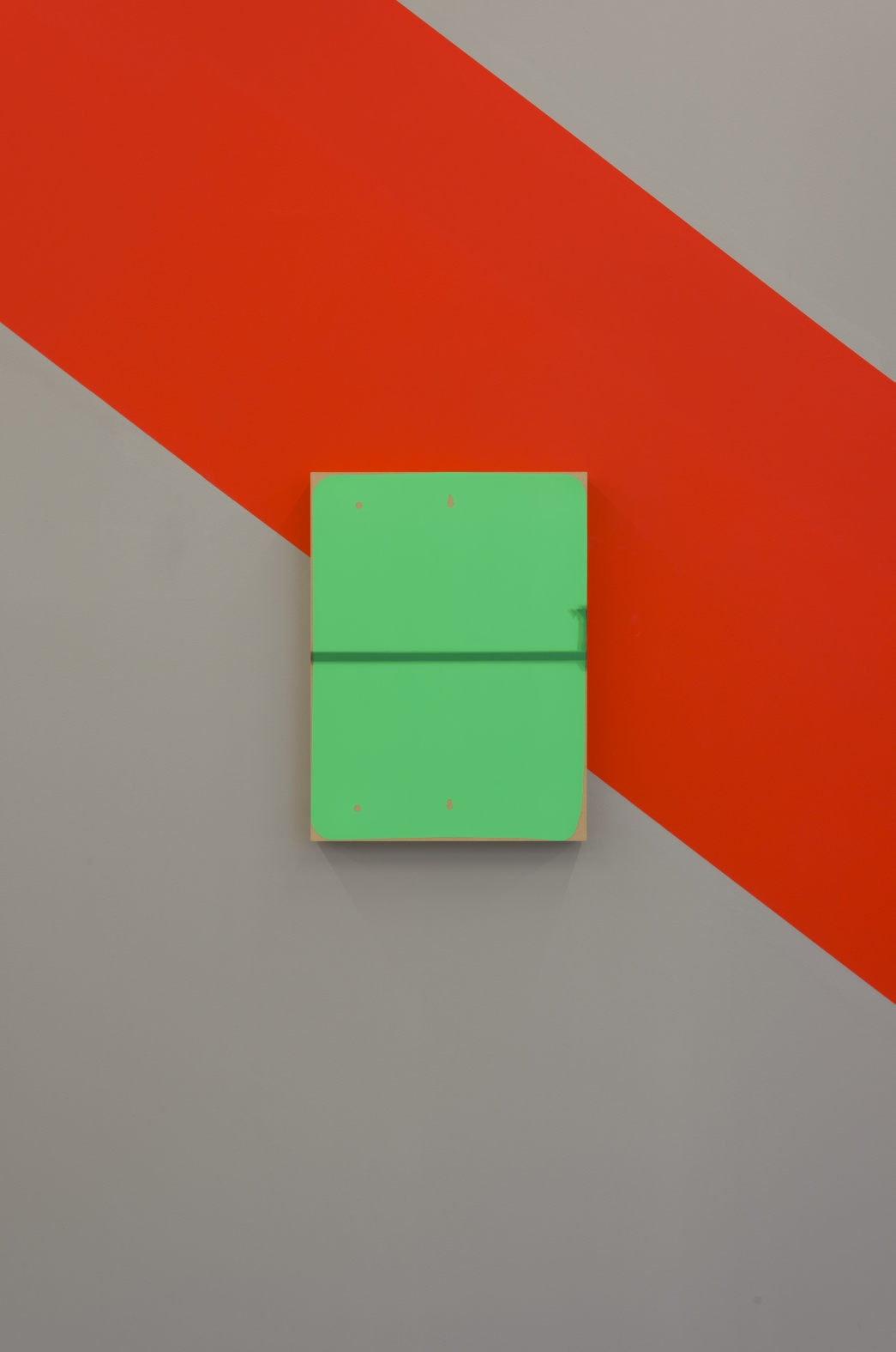 Matthew Metzger  The Signified (Right) , 2013 installation (Mural with panel: Ulta-Matte Video Green Acrylic, Oil on MRMDF), dimensions variable