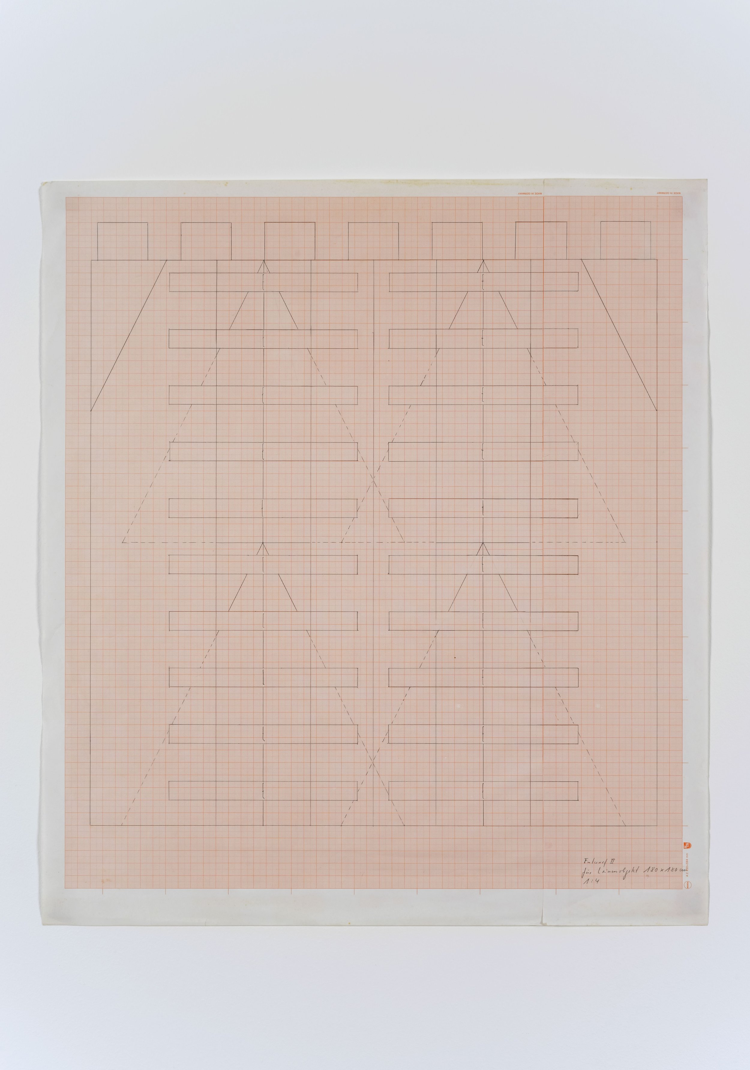 Friedrich Teepe  Untitled , early 1980's construction drawing on scale paper, 57 x 65 cm, framed