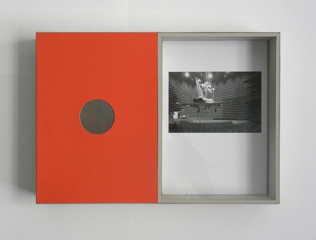 Art piece No.19 , 2013 cardboard, paper, inkjet print, acrylic, aluminum grid, red plastic sheet, MDF,30 x 42.3 x 7 cm