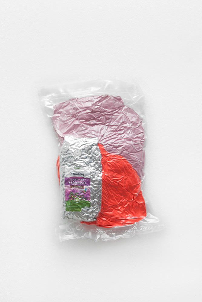 Ed Fornieles  Adventure in Babysitting , 2016 Sports clothing and coffee, vacuum packed, 35 x 30 cm x 6 cm