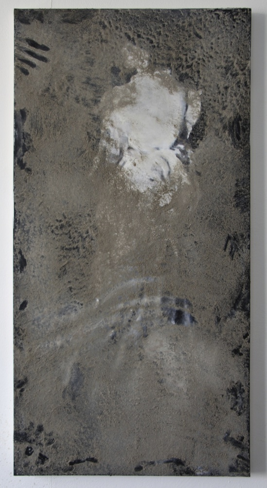 Pablo Rasgado  Harmony on Black and White. After. Harmony on Pink and Red,  2014 dust on acrylic on canvas, 100 x 50 cm